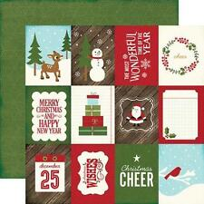 """Echo Park THE STORY OF CHRISTMAS """"3x4 journaling cards"""" 12x12 Paper 2 sheets"""