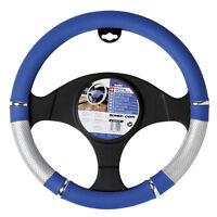 Genuine Sumex Power Soft PVC Car Steering Wheel Sleeve Cover - Silver & Blue #64