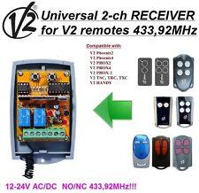 V2 universal 2-canaux Récepteur 12-24 VAC/VDC pour V2 télécommandes 433,92MHz