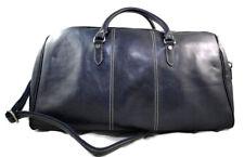 Borsone uomo donna borsa viaggio con manici e tracolla blu vera pelle
