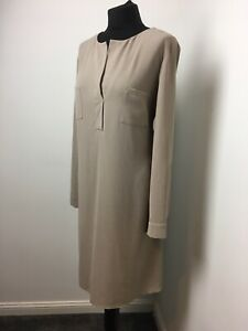 Nude Neutral Dress Light Fabric No Collar Size 16 Adjustable Sleeves Above Knee