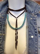 Free People Turquoise Lariat Choker Leather Bolo necklace genuine NeW Gift