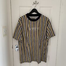 GUESS T-Shirt Mens L Large (Striped / Yellow / Navy / White)