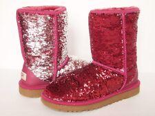 UGG AUSTRALIA Classic Short FLIP Sparkles Boots WOMEN 7 PINK SILVER Sequin Shiny