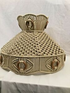 """Retro Vintage Macrame Shade Woven Bohemian Lampshade Large 13"""" Tall X 18"""" Wide"""
