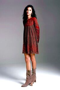 NWT ANTHROPOLOGIE PINNACLE SHRUTI SANCHETI MICHAELA TUNIC DRESS WINE PAISLEY XL