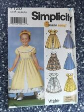Simplicity 7120 Girl's Girlie Dress Sewing Pattern Sizes 3 4 5 6 7 8