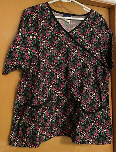 Women's Pink & Yellow Floral Print Scrub Top by Tafford, Size Large - Pre-Owned