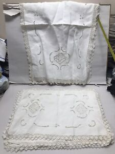 9 ANTIQUE ITALIAN EMBROIDERED CUTWORK PLACEMATS HANDMADE FILET LACE & RUNNER