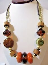 Hippie Boho Big Beads Fashion Modern Ceramic Mixed Artsy Necklace Apple Coral