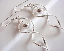 Double Helix Dangling Silver Ball Earrings Sterling Silver Dangle Corona Sun