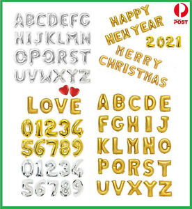 """16"""" Gold/Silver Foil Balloons Alphabet Letter & Number Birthday Party (35-40cm)"""