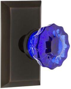 "Nostalgic Warehouse Studio Plate Passage Crystal Cobalt Glass Door Knob 2.375"""