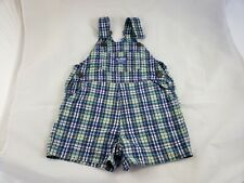 Vintage Oshkosh Vestbak Purple Green Seersucker Plaid Boys Girls Shortalls 3T