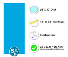 16' x 32' Oval Overlap Plain Blue Above Ground Swimming Pool Liner - 25 Gauge