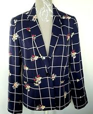 Laura Ashley Jacket UK 14 Navy Blazer Pink Check Floral Single Breast Career