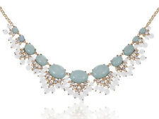 Womens Gold Tone Light Turquoise Stone Chunky Statement Necklace