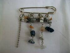 Kilt Pin Brooch with stone and chain decoration, unused