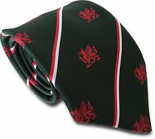 Bottle Green Mens Tie with Red and White Stripes and Welsh Dragons Cymru Wales