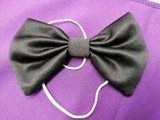 Black Bow Tie On Elastic Clown Fancy Dress Accessories Bond Vampire