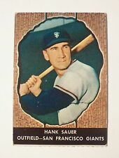 1958 Hires Root Beer HANK SAUER Authentic SF GIANTS No Tab BASEBALL CARD #49