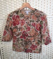 Sarah Spencer Floral Autumn Winter Lambswool Mix Cardigan Knit (M) Fits 8/10