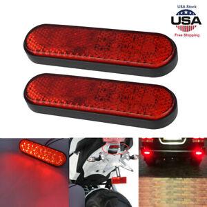 "2pcs 4"" Motorcycle Truck ATV LED Rectangle Reflector Tail Brake Stop Light Lamp"