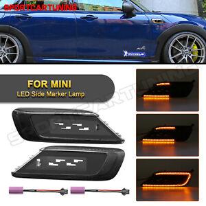 For 16-up Mini Cooper F54 Clubman Dynamic Amber LED Side Marker Light Smoke Lens