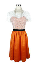 REVIEW Dress - 1950s/60s Vintage Style Orange Satin White Lace Black Belt - 8/S
