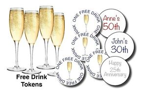 100 PERSONALISED PARTY DRINKS TOKENS - One Free Drink Party, Birthdays