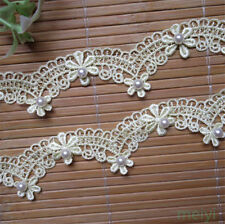 3yd Flower Pearl Embroidered Lace Edge Trim Ribbon Wedding Applique Sewing Craft