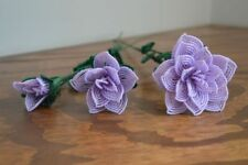 3 handmade French beaded Flowers lilac opal Large medium small rose glass beads