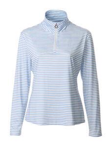 JRB Stretch Base Layering Zip Neck Micro Fleece Top Blue White Striped S - XXL