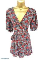 TOPSHOP Playsuit Ditsy Floral Red Blue Belted Wrap Front UK 14 - NEW