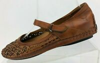 Pikolinos Mary Jane Comfort Brown Leather Floral Cutout Flats Womens 36 US 5.5/6