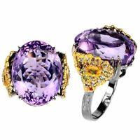 Handmade Oval Amethyst 19x14mm Sapphire Diamond Cut 925 Sterling Silver Ring 8
