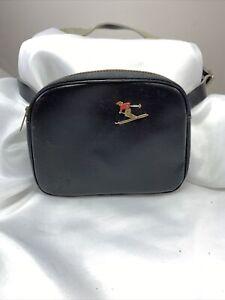 Vintage Ski Belt Fanny Pack Bag Enamel Logo Zipper Pouch Leather