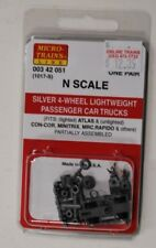 N Scale Micro Trains 00342051 (1017-S) 4-Wheel Ltweight Passenger Trucks, Silver