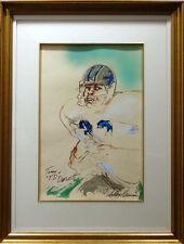 "LeRoy Neiman""Tony Dorsett""football Original Watercolor H.Signed by Tony&Neiman"