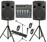 """QTX 600W PA System 6Ch PA System with 12"""" Active Speakers Band School Karaoke DJ"""