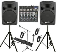 "QTX 600W PA System 6Ch PA System with 12"" Active Speakers Band School Karaoke DJ"