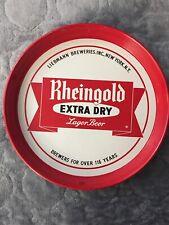 """VINTAGE RHEINGOLD BEER TRAY EXTRA DRY LAGER BEER 12"""" DIAMETER"""