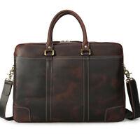 """Large Dark Brown Mens Leather 17"""" Laptop Business Briefcase Handbag Shoulder Bag"""