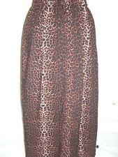long maxi cotton viscose black brown leopard animal print skirt plus size 34+