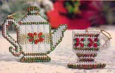 CHRISTMAS TEA PARTY ORNAMENTS PLASTIC CANVAS PATTERN INSTRUCTIONS