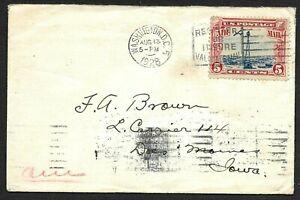 Washington DC Airmail Cover Solo C-11 Stamp to Iowa 1928