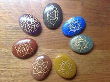 REDUCED Seven Reiki Chakra Engraved Oval Gemstones For Healing & Meditation