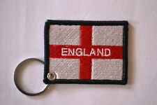 England St George Flag Embroidery Keyrings Machine Embroidered Keychain Chrome