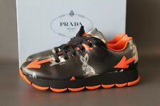 PRADA Milano Damen Sneaker Gr. 41 Shoes Schwarz Freizeit UK 8 Leder Orange NEU