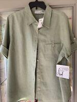 Fashion Bug womens 18/20W button Camp Shirt Sage Linen Short Sleeve NWT